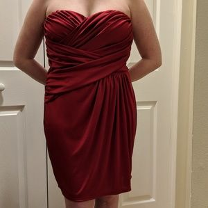 Red satin Express rouched cocktail dress